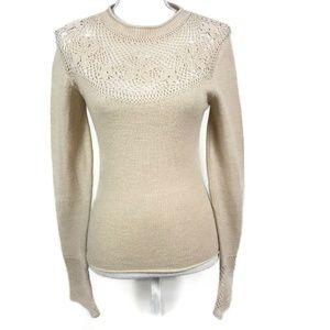 Anthropologie Sleeping On Snow Crochet Sweater XS